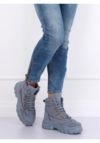 Dámské sportovní boty na masivní podrážce v modré barvě