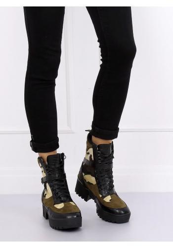 Olivové vojenské boty s maskáčovým vzorem pro dámy