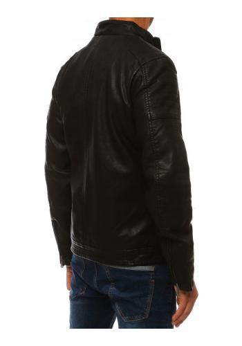 Pánská kožená bunda na přechodné období v černé barvě