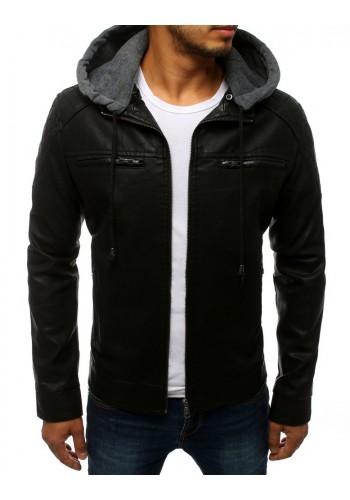 Kožená pánská bunda černé barvy s odepínací kapucí