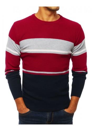 Pánský stylový svetr s kontrastními prvky v bordové barvě