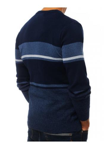 Stylový pánský svetr tmavě modré barvy s kontrastními prvky