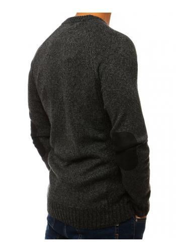 Pánský módní svetr se záplatami na loktech v tmavě šedé barvě