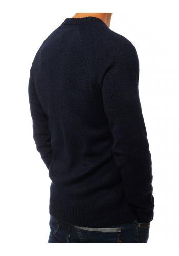 Módní pánský svetr tmavě modré barvy se záplatami na loktech