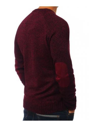 Bordový módní svetr se záplatami na loktech pro pány