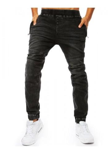 Stylové pánské Joggery černé barvy s riflovým vzhledem