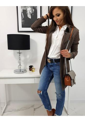 Dvouřadý dámský kabát hnědé barvy s páskem