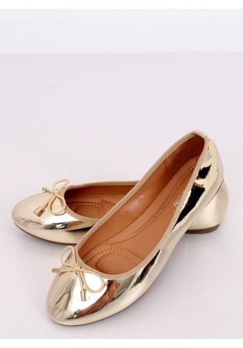 Metalické dámské balerínky zlaté barvy s mašlí