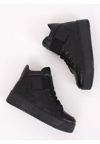 Dámské stylové Sneakersy s vysokou podrážkou v černé barvě