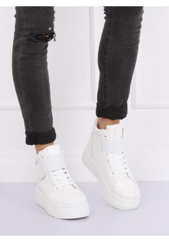 Stylové dámské Sneakersy bílé barvy s vysokou podrážkou