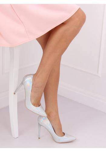 Stříbrné holografické lodičky na štíhlém podpatku pro dámy