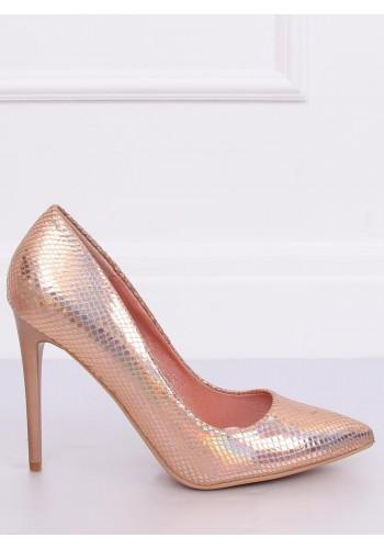 Dámské holografické lodičky na štíhlém podpatku v růžové barvě