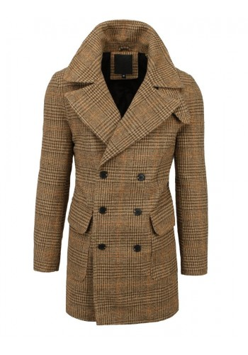 Pánský dvouřadý kabát s kostkovaným vzorem v hnědé barvě