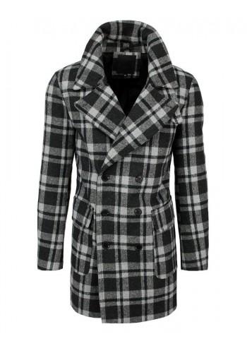 Dvouřadý pánský kabát šedé barvy s kostkovaným vzorem