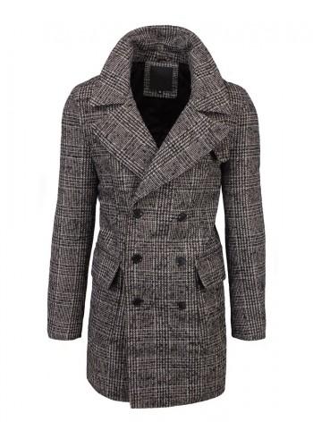 Hnědý dvouřadý kabát s kostkovaným vzorem pro pány