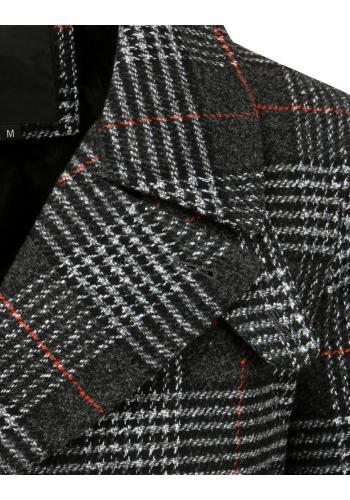 Pánské dvouřadé kabáty s kostkovaným vzorem v černé barvě
