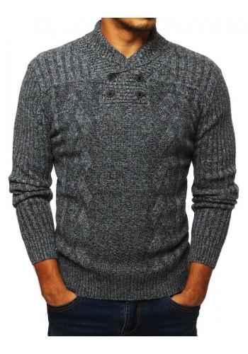 Pánský stylový svetr s límcem na knoflíky v světle šedé barvě