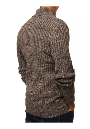 Stylový pánský svetr hnědé barvy s límcem na knoflíky