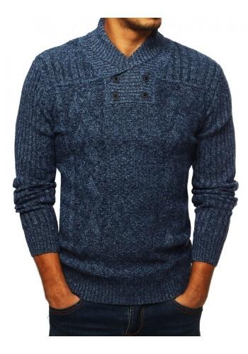 Modrý stylový svetr s límcem na knoflíky pro pány