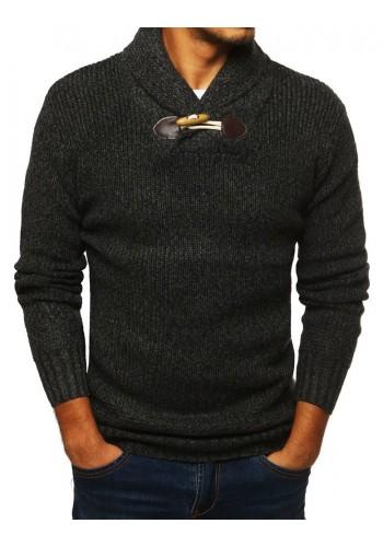 Pánský módní svetr s vysokým límcem v tmavě šedé barvě