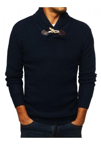 Módní pánský svetr tmavě modré barvy s vysokým límcem