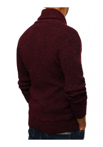 Bordový módní svetr s vysokým límcem pro pány