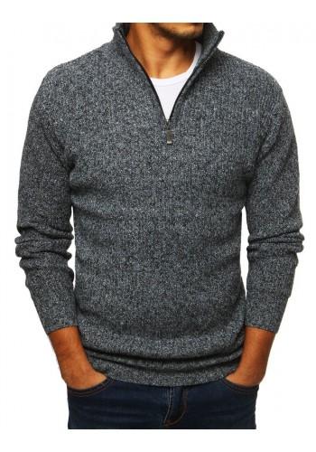 Pánský melanžový svetr s vysokým límcem v šedé barvě