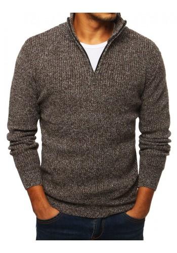 Melanžový pánský svetr hnědé barvy s vysokým límcem