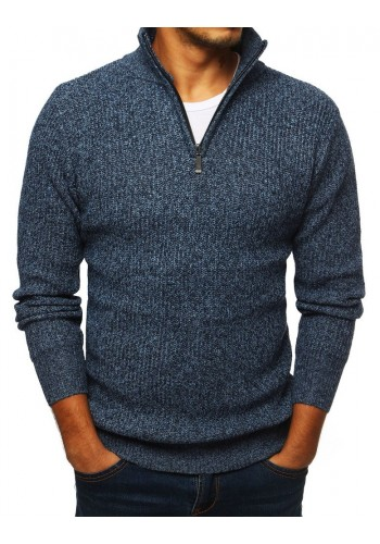 Modrý melanžový svetr s vysokým límcem pro pány