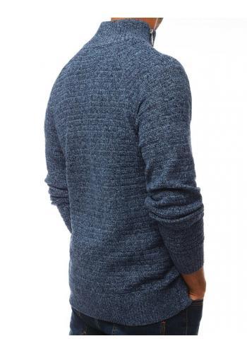 Pánský melanžový svetr s vysokým límcem v modré barvě