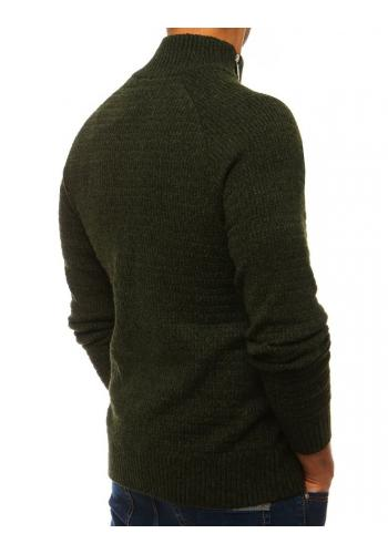 Melanžový pánský svetr zelené barvy s vysokým límcem