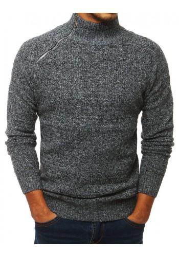 Šedý melanžový svetr s vysokým límcem pro pány