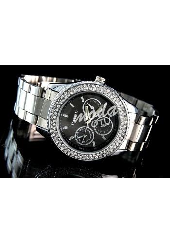 Dámské módní hodinky s modrým ciferníkem v růžovo-zlaté barvě