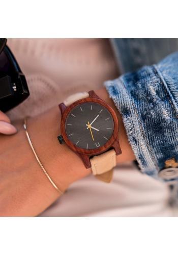 Dámské dřevěné hodinky s koženým páskem v černo-bílé barvě