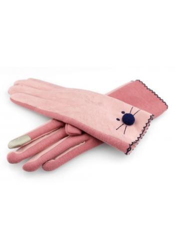 Růžové zimní rukavice s tváří kočky pro dámy v akci