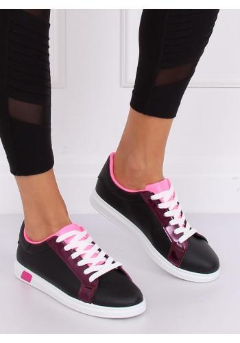 Módní dámské tenisky černé barvy s růžovými prvky