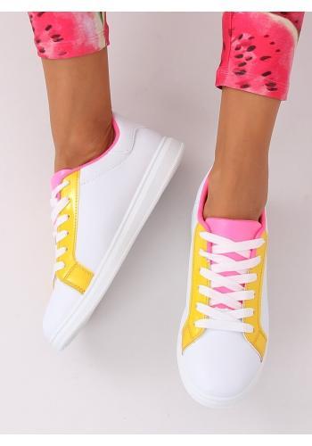 Bílé módní tenisky se žlutými prvky pro dámy