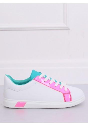 Dámské módní tenisky s růžovými prvky v bílé barvě