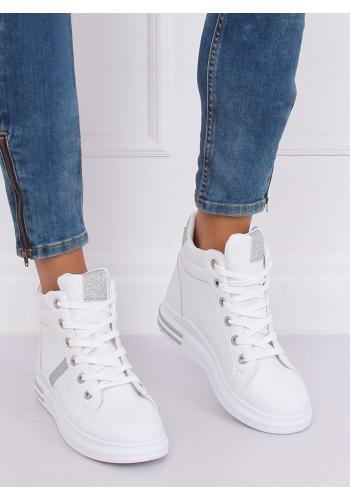 Kotníkové dámské Sneakersy bílo-stříbrné barvy s vysokou podrážkou