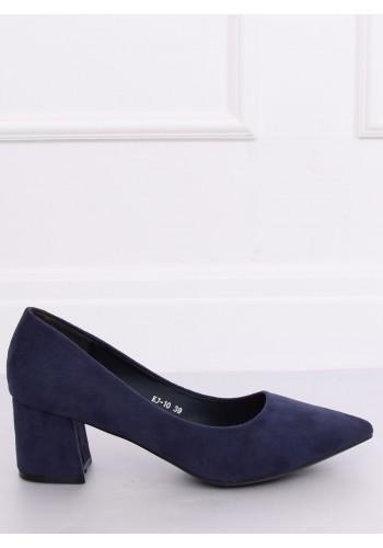 Semišové dámské lodičky tmavě modré barvy na širokém podpatku