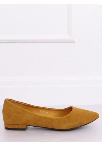 Dámské semišové balerínky na nízkém podpatku ve žluté barvě