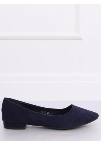 Tmavě modré semišové balerínky na nízkém podpatku pro dámy