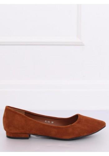 Semišové dámské balerínky hnědé barvy na nízkém podpatku