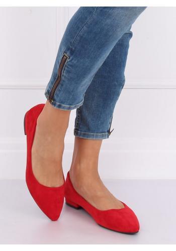 Dámské semišové balerínky na nízkém podpatku v červené barvě