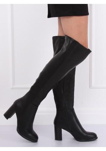 Černé módní kozačky nad kolena na podpatku pro dámy