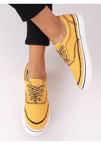 Stylové dámské tenisky žluté barvy s potiskem