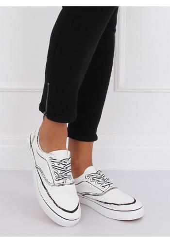 Bílé stylové tenisky s potiskem pro dámy
