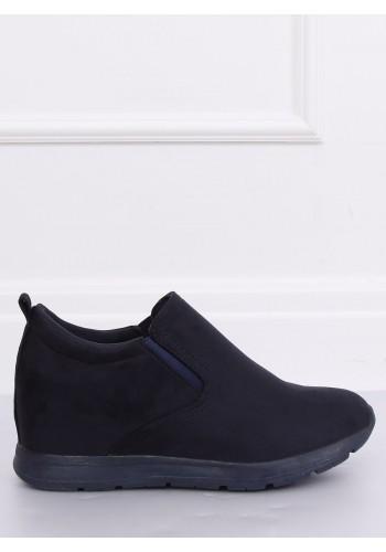 Dámské semišové boty na skrytém podpatku v tmavě modré barvě