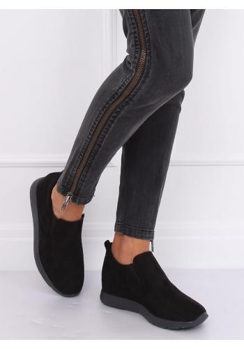Černé semišové boty na skrytém podpatku pro dámy