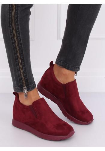 Semišové dámské boty bordové barvy na skrytém podpatku